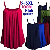 Womens Plus Size Camisole Ruched Vest Tops Kanpola Ladies Casual Loose Solid Color Cami Tank Top Shirt Blouse