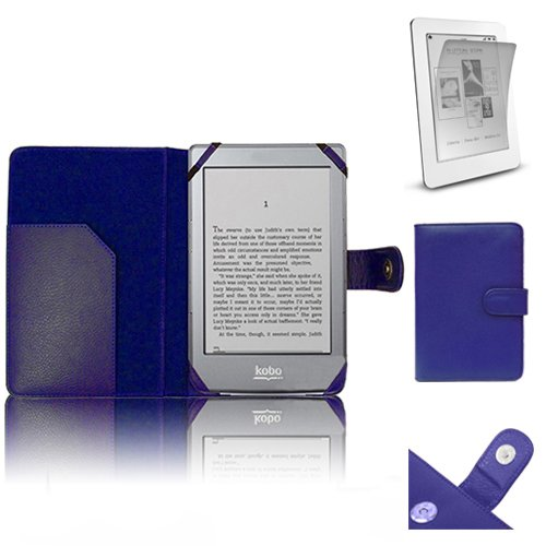 Vuitton 6 Louis Fall (Xtra-Funky Exklusiv PU-Leder-Geldbörse Buch-Art-Fall für Kobo eReader GLO Inklusive LCD-Display Schutzfolie - Blau)