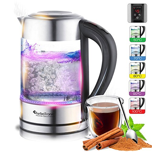 2200W Glas Wasserkocher mit Temperaturwahl 60°C, 70°C, 80°C, 90°C, 100°C einstellbar, 1,7 Liter, Warmhaltefunktion, BPA FREE