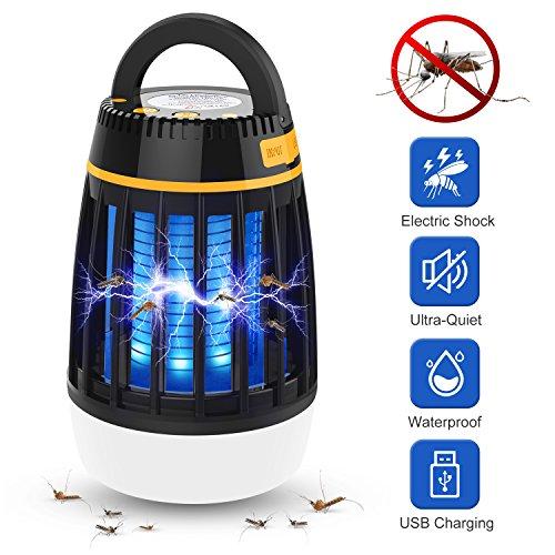 Insektenvernichter,WloveTravel3-in-1 Moskito Mörder Campinglampe Auladen im Notfall 2200mAh Wiederaufladbarer Akku mit einziehbarem Haken 3 Modi von Beleuchtung (Schwarz)
