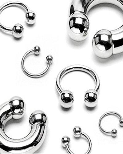 Piercing-dreams - Piercing a ferro di cavallo, con palline, in acciaio chirurgico 316L, varie misure