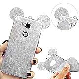 Mate 7 Hülle, QianYang Glitzer Crystal Schutzhülle für Huawei Mate 7 Handyhülle TPU Silikon Cartoon Maus Mouse Ohr Tasche Schale - Glitter Silber