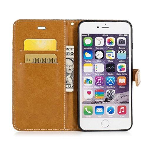 König-Shop Handy Hülle Schutz Case Jeans Optik Bookstyle Tasche Etuis, Für Handy:Apple iPhone 6 / 6s Plus (5.5 Zoll), Farbe wählen:Schwarz Grün