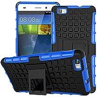 Nnopbeclik Huawei P9 Lite Hülle, Dual Layer Rugged Armor stoßfest Handy Schutzhülle Silikon Tasche für Huawei P9 Lite - Blau + 1x Display Schutzfolie Folie