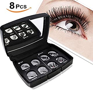 Magnetic False Eyelashes, Lypumso 3D Reusable Magnetic Glueless False Natural Eyelashes Handmade Ultra-Thin 3 Magnets Magnetic Eyelashes with Tweezers with Mirror, Black (2 Pair/8 Pieces)