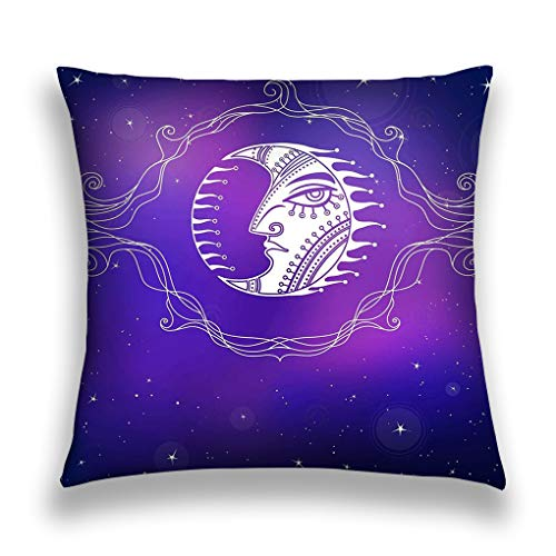 rgthjuk Kissenbezüge Throw Pillow Cover Pillowcase Stylized Decorative Image Moon Openwork Vignette Background Star Sky Print Posters Card Sofa Home Decorative Cushion Case 18