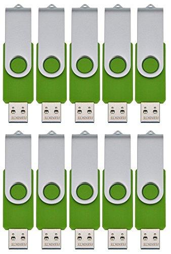 FEBNISCTE Packung mit 10 USB-Flash-Laufwerke 256MB (Nicht 256GB) Grün USB 2.0 Pendrive Grün (Gb 256 Pen Usb Drive)