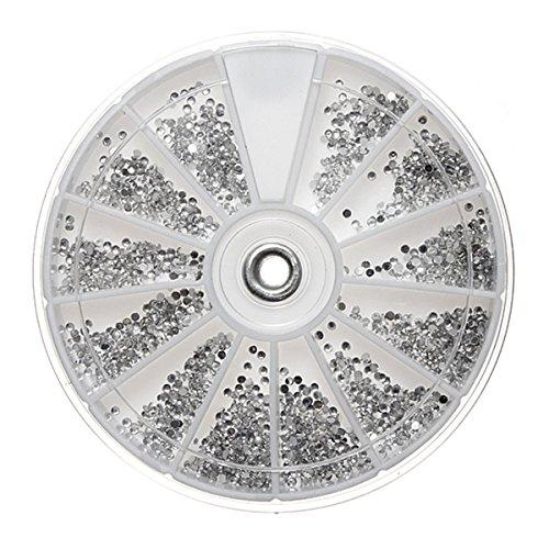 LuckyFine 2400Pcs Clair Argent Gemme 3D Nail Art Disque Strass Glitter Paillettes Roue Pour DIY Ongles Décoration 1,5mm