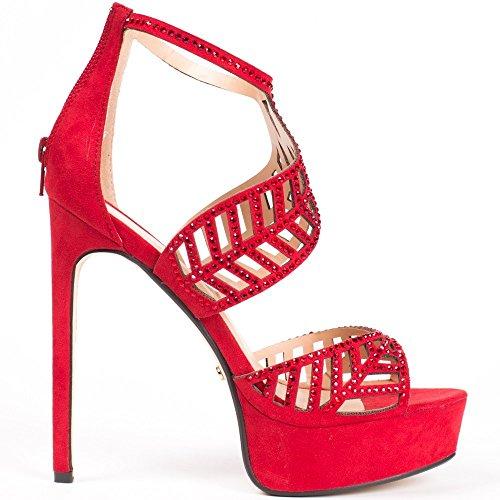 Ideal Shoes Escarpins à Brides Ajourées et strassées Fabiola Rouge