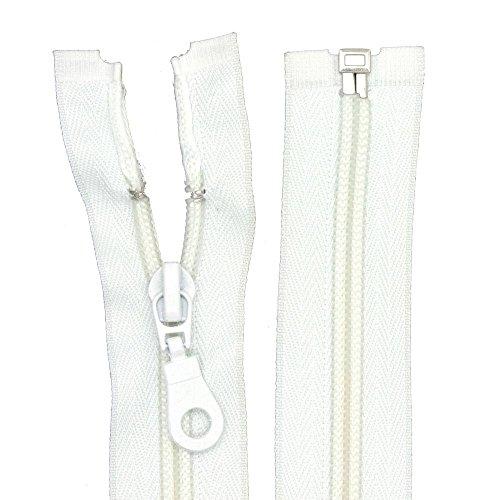 Reißverschluss Nylon Perlonspirale 6 mm teilbar für Jacken Taschen Weiß 55 cm (Nylon-reißverschluss-taschen)