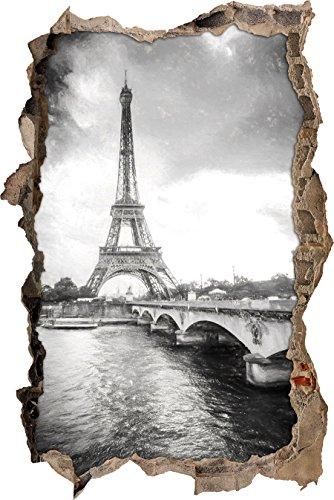 Eiffelturm in Paris Kunst Kohle Effekt Wanddurchbruch im 3D-Look, Wand- oder Türaufkleber, Wandsticker, Wandtattoo, Wanddekoration
