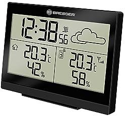 Bresser Funkwetterstation Temeo Trend LG für Temperatur und Luftfeuchtigkeit inklusive Wettertrend-Vorhersage, Funkuhr mit Wecker und Außensensor, schwarz