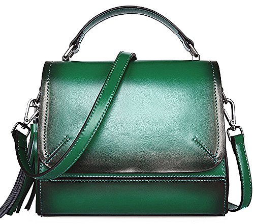 Xinmaoyuan Borse donna borsette in cuoio retrò semplice Borsa donna nappa borse a tracolla messenger borsetta Verde