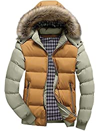 PRINCER Mens Coat,Winter Keep Warm Fur Collar Thick Hooded Coats Casual Patchwork Long Sleeve Padded Quilted Jacket Fashion Running Windproof Outerwear Overcoat for Men Clothes