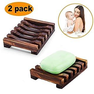 2 Stk.Seifenhalter,Rixow Handarbeit Seifenschale,Natürliche Bambus Seifenkiste,Bad Waschbecken Deck Seifenhalterung