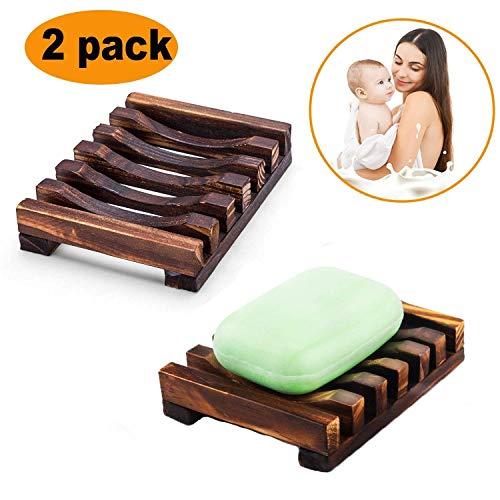 2 pcs Soap Holder, Rixow Handmade Soap Dish, Natural Bamboo Soapbox, Bathroom Sink Deck Soap Holder
