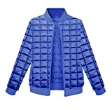 YOOTOU Womens Casual Thick Stand Collar Quilted Outwear Parkas Coats Jacket,Royal Blue,Large