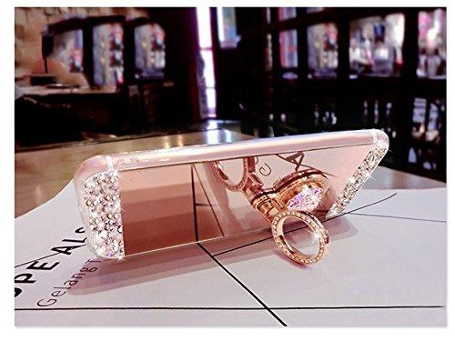 S6Edge Glitzer Spiegel TPU Fall [mit 1Stylus Pen]-Newstars Fashion Schöne Luxus 3D Handgefertigt Diamant Glitzer Bling Soft Shiny Sparkling mit Glas Spiegel Backplate Schutzhülle für Samsung Galax A8 Mirror TPU Ring 2