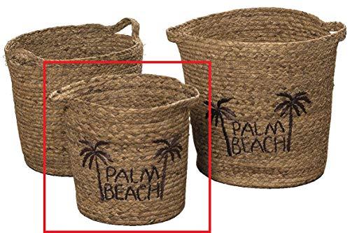 Meinposten. Korb mit Griffen Aufbewahrungskorb Dekokorb Natur braun rund Deko Palm Beach (Klein, 30x30 cm)