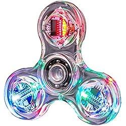 TIP Cristal LED Light Fidget Spinner Jouet Main Tri Spinner Seul Doigt Rapide Roulements Soulagement De L'anxiété EDC Jouets for Enfants Et Adultes LED