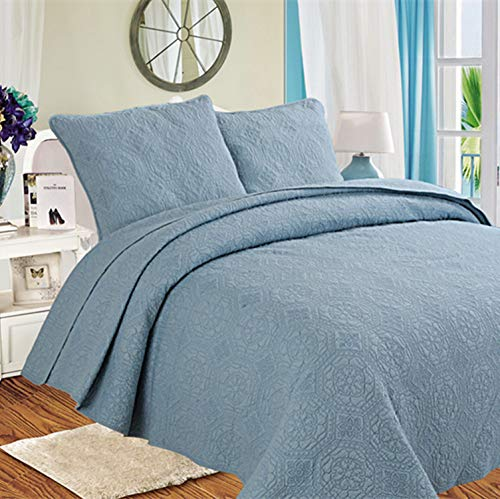 King Size Sommer Baumwolle Stickerei Quilt 230 X 250 Cm Bettbezug Sets Werfen 3 Stück Bettwäsche,Blue-230cm*250cm ()