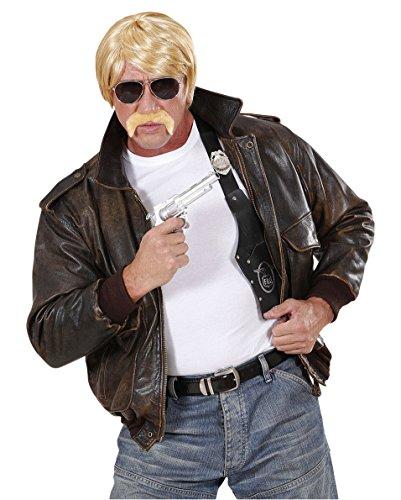 Agenten Set 70er 80er Jahre mit Perücke blond Brille und ()