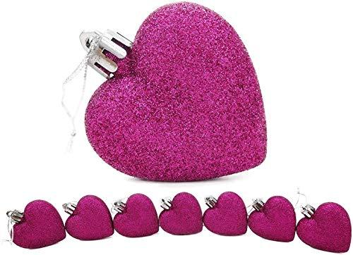8 x 5 cm violet Glitter + Matt en forme de coeur d'arbre de Noël Babioles