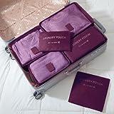 Reiseveranstalter, Reiseutensilien Tasche 6 stücke Verpackungswürfel für Reise wasserdichte Polyester Aufbewahrungsbeutel Kleidung Koffer (9 Farben) Weinrot