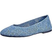Skechers CLEO KNITTY CITY, Women's Low-Top Trainers, Blue (Denim Open Flat Knit Denim), 6.5 UK (39.5 EU)