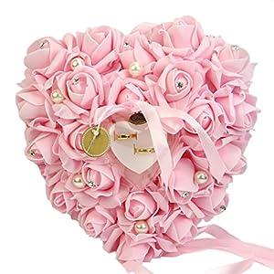 Gemini _ Mall® Romantic Rose Hochzeit Ring Kissen ring Box Herz Hochzeit Ring Kissen mit begünstigt eine elegante Satin Flora, rose, Einheitsgröße