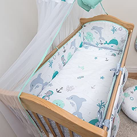 5 Pcs Baby Nursery Bedding Set, 140x70cm 420cm long Bumper, Suits Cot Bed - Pattern 13