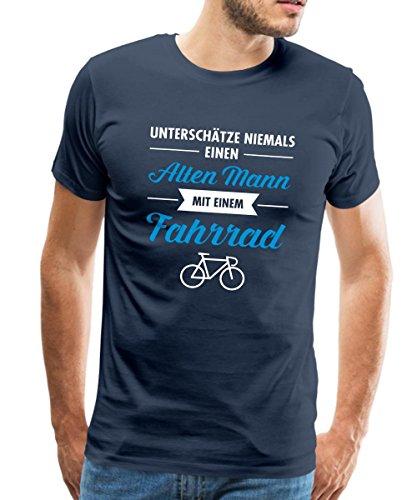 Spreadshirt Alter Mann mit Fahrrad Lustiger Spruch Männer Premium T-Shirt, XL, Navy (Lustig Fahrrad)