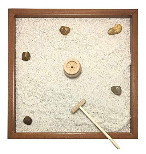 giardino zen da tavolo 25x25 2cm di legno massello noce lavorato artigianalmente fatto a mano - prodotto di qualita'