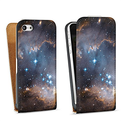 Apple iPhone 5s Housse Étui Protection Coque Étoiles Galaxie Galaxie Sac Downflip blanc