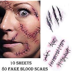 Chengzhi Tatouages Temporaires (10 Feuilles) - Halloween Zombie Scars Tatouages Autocollants avec Fake Scab Blood Spécial FX Costume Maquillage Props