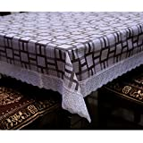 #5: Kuber Industries™ PVC Dining Table Cover 6 Seater Silver Lace 60*90 Inches (Exclusive Design) KI16518