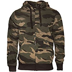 Sudadera con capucha chaqueta sudadera pesado camuflaje cremallera con capucha suéter de trabajo - Hombre - Color Verde / Marrón por ROCK-IT