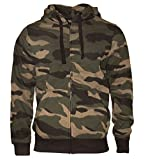 Rock-It Kapuzenjacke Sweatjacke Heavy Camouflage Zipper Workerhoodie Pullover - Herren Farbe Grün/Braun - XX-Large
