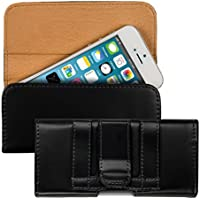 kwmobile Funda para cinturón para Smartphones con clip para cinturón - Funda para cinturón de piel sintética con pasador en negro Dimensiones interiores: approx. 12,5 x 6 x 1,3 cm
