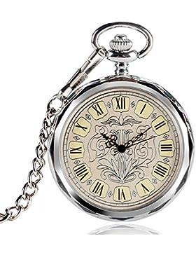 yisuya Römische Zahlen mechanischen Hand Wicklung Taschenuhr Vintage Open Face Silber