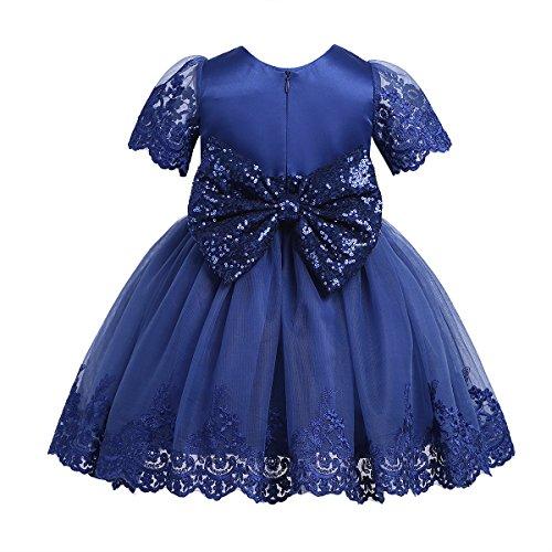 Freebily Sequins Robe de Baptême Soirée Bébé Fille Dentelle Robe d'anniversaire Princesse Manches Courts Robe à Paillettes Noeud Papillon Amovible 3-24 Mois Bleu 12-18 Mois