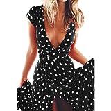 Yesmile Vestido de Mujer Falda Negro Vestido Elegante de Noche para Boda Fista Vacaciones Largo Vestido de Coctel del Partido de Boho de Verano Vestido de Playa de Las Mujeres (Negro, S)