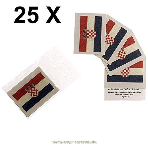 25 x Kroatien Tattoo Fahnen Fan Set - EM Fanartikel 2016 - Croatia Flag Hrvatska