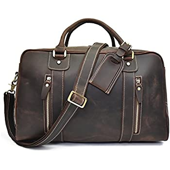 Duffle de voyage en cuir véritable hommes Grand sac de week-end en cuir de vache Overnight Messenger (brown1) 7TETi6cP