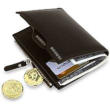 MPTECK @ Marrón Cartera para hombre Estilo plegable Monedero Billetera de PU Cuero con Bolsillo para