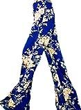 erdbeerloft - Damen Sommerhose mit Schlag- Hibiskus Blüten-, 40, Blau