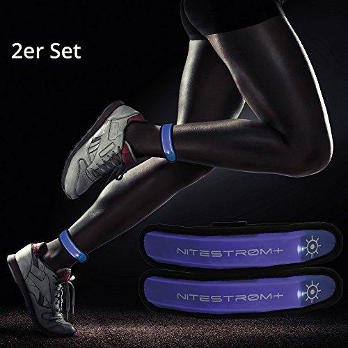 ZNEX LED Armband Leuchtarmband für Sport & Outdoor, 2er Set blau/blau. Hell leuchtendes LED Jogging Fahrrad Licht Warnlicht Blinklicht für hohe Sichtbarkeit im Dunkeln