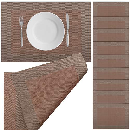 Halal-Wear 10er Set Tischsets Abwaschbar Platzsets rutschfest Abwischbar Platzdecken Tischunterlage hitzebeständig Platzdeckchen platzset (19 Braun Orange)