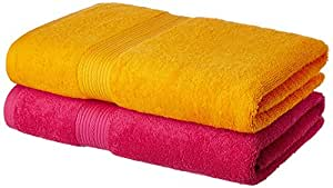 Amazon Brand - Solimo 100% Cotton 2 Piece Bath Towel Set, 500 GSM (Paradise Pink and Sunshine Yellow)