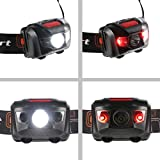 Ultrasport LED Headlamp with 4 Light Modes, a IPX4 waterproof headlamp with 2 red and 1 white High Power LED, battery powered, comfortable to wear